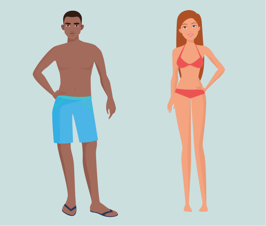 A man and woman stand wearing bathing suits in the center of the image.