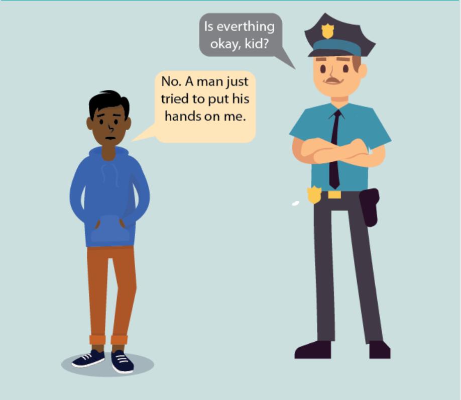 A police officer asks a boy,