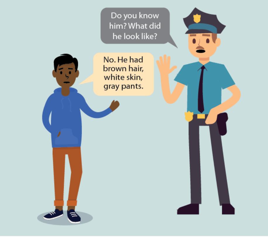 A police asks a boy,