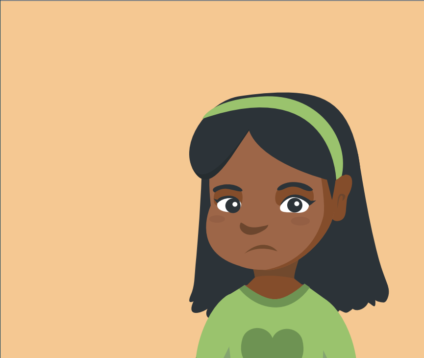 A frowning girl's face is shown in the center of the image.