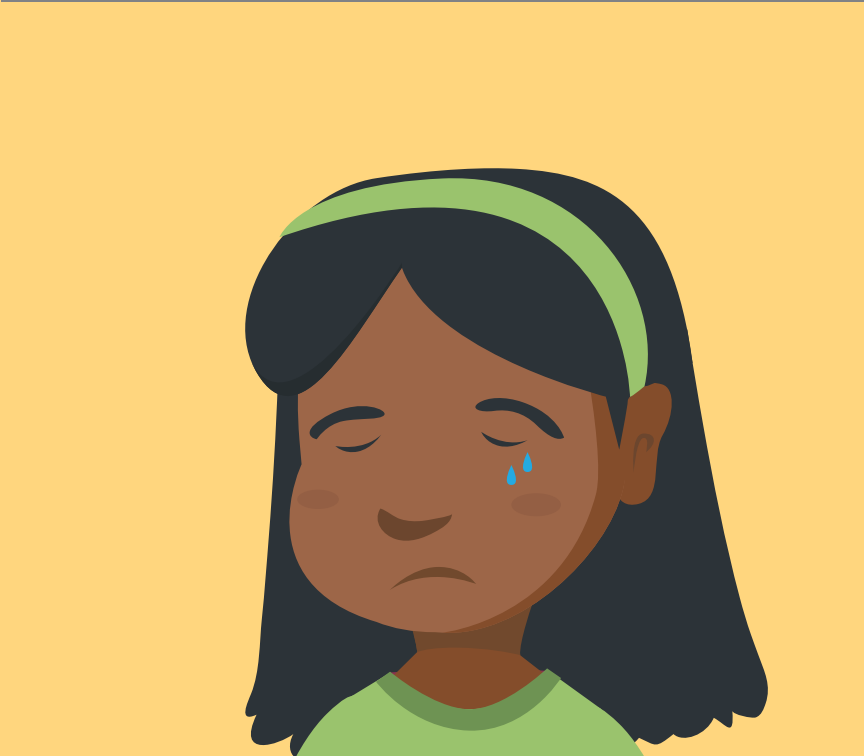 A young crying girl's face is shown in the center of the image.