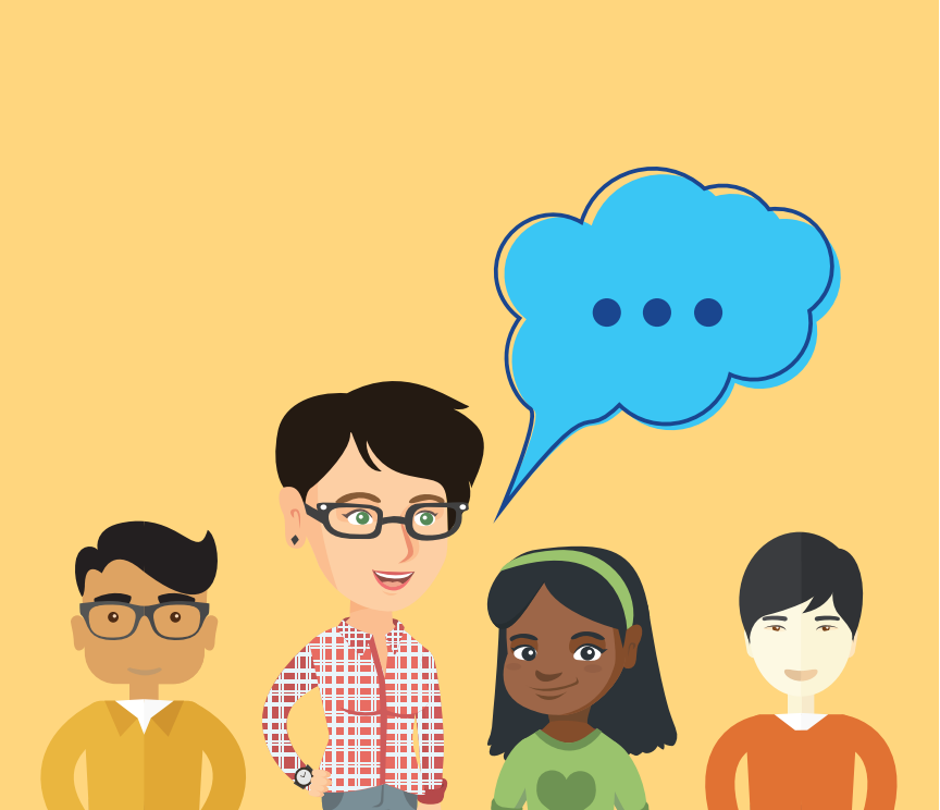 A woman therapist with a thought bubble containing three dots stands next to two boys and a girl.