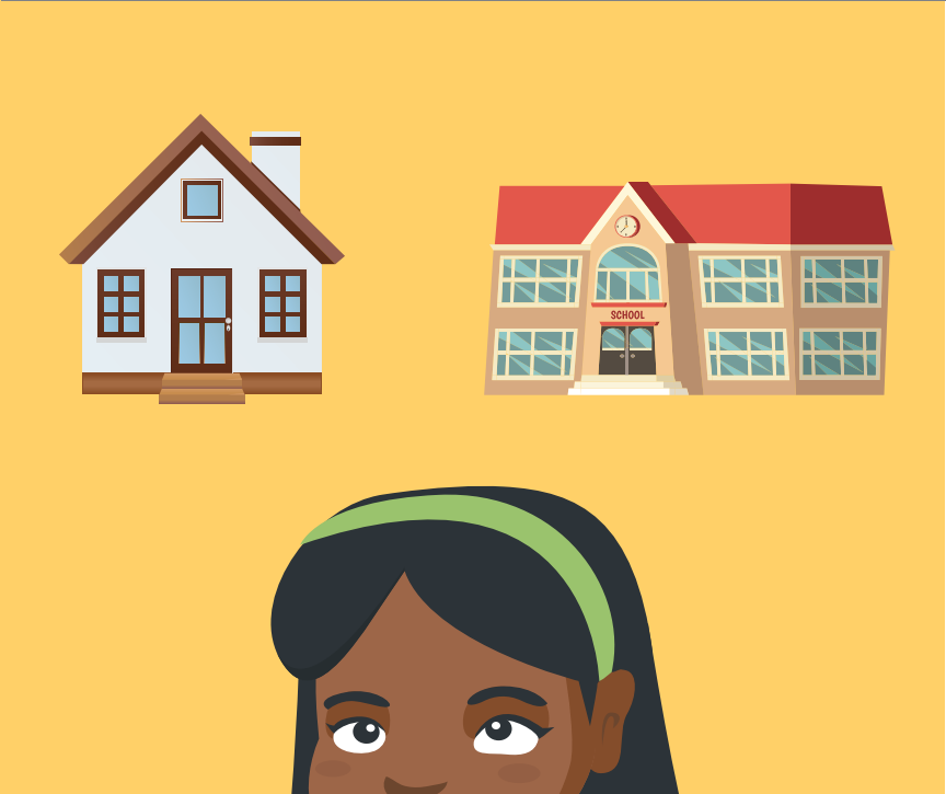 The top of a girl's head is shown with a house and school building above it.