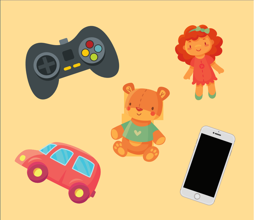 A video game controller, doll, teddy bear, toy car, and smartphone are shown in the center of the image.