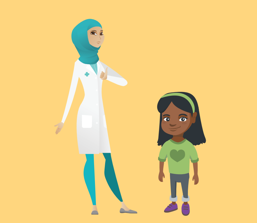 A woman who is a doctor stands to the left of a smiling young girl.