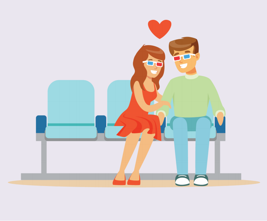 A woman and man sit next to each other at a movie theater wearing 3D glasses. A heart is shown above their heads.