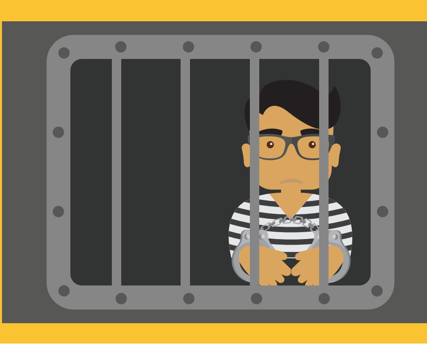 A boy with handcuffs wearing a striped shirt is shown behind bars in the center of the image.