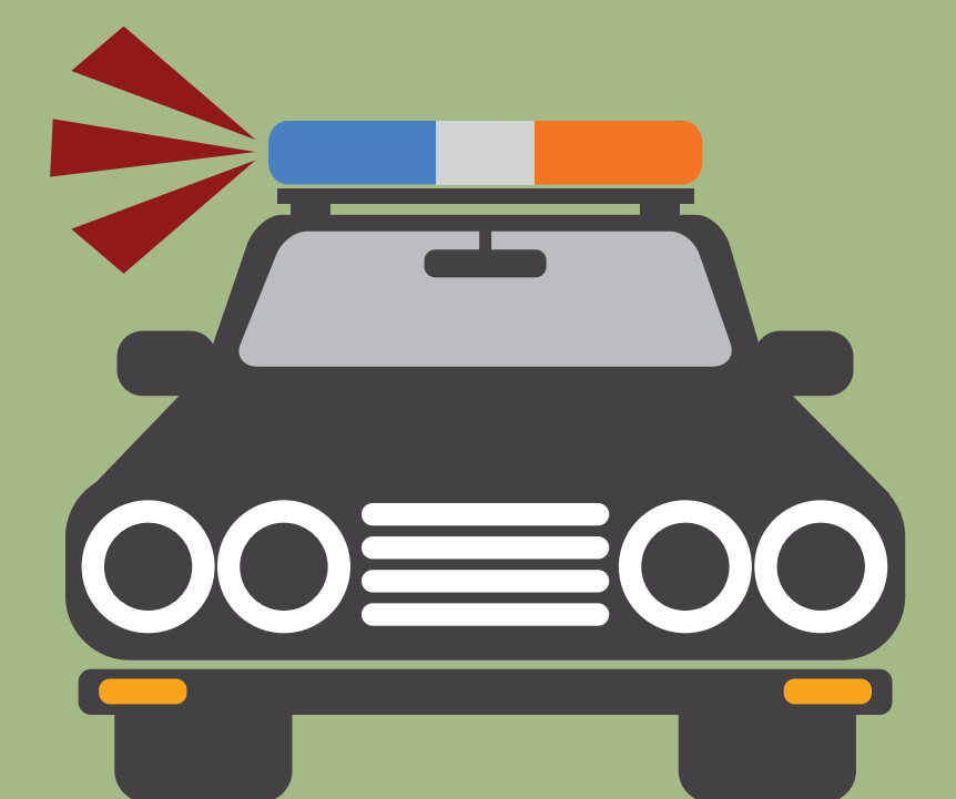 The lights on the top of a police car are shown with lines to represent sounds.