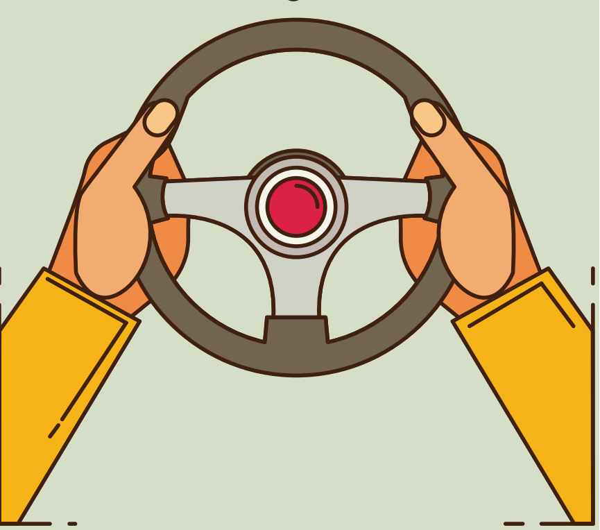 Two hands holding a steering wheel are shown in the center of the image.