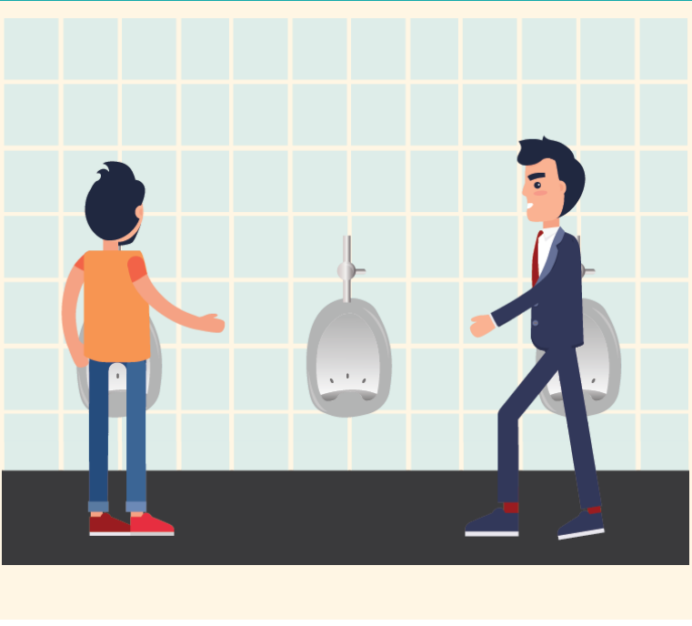 Two men approach a set of three urinals in the bathroom and move toward the far left and far right urinals.