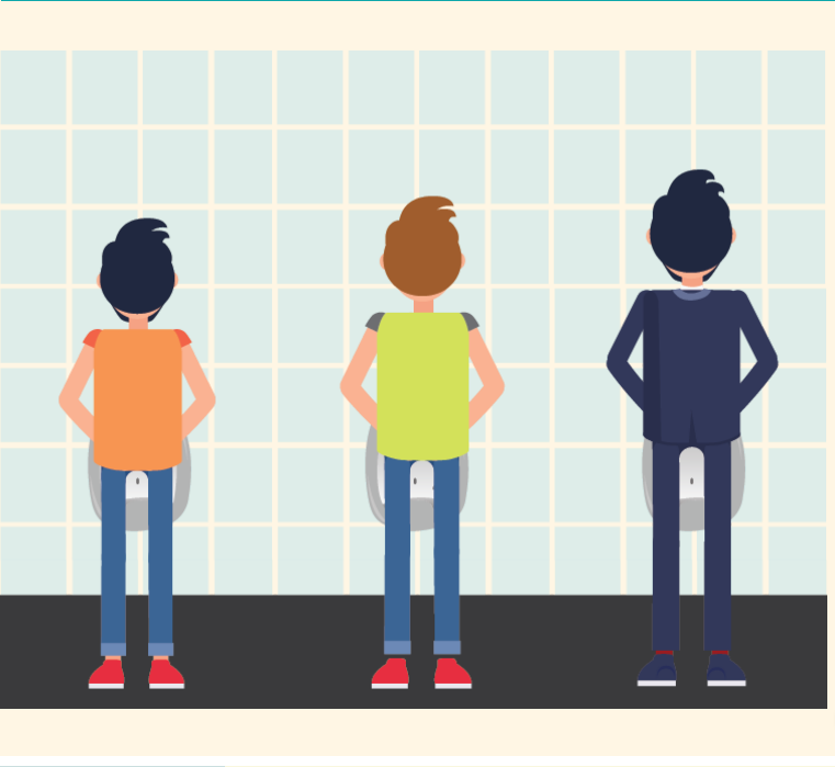 Three men are shown from the back using urinals while looking at the wall.