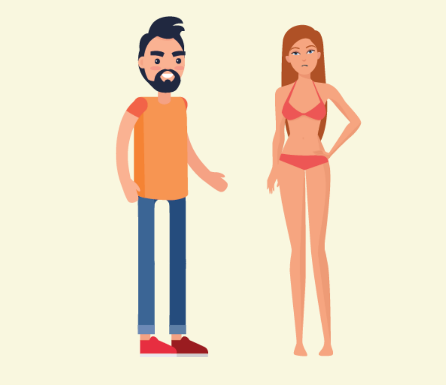 A grinning man stands next to a frowning woman wearing underwear.