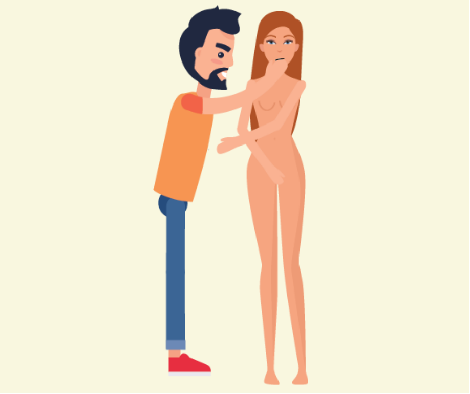 A woman not wearing clothes stands next to a man who puts his hand up to her face.