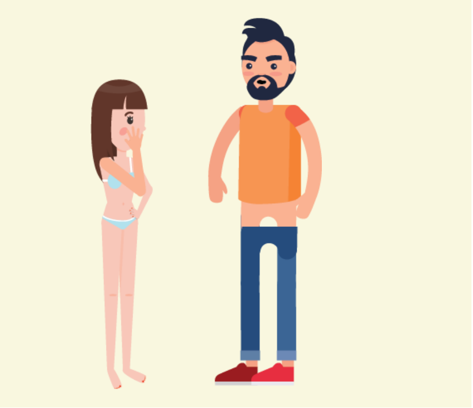 A girl wearing underwear stands with her hand covering her mouth as a man stands in front of her with his pants pulled down.