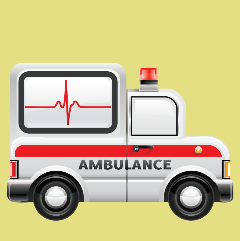 A side view of an ambulance.