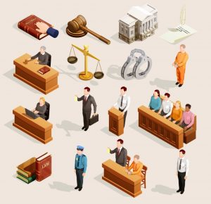 A graphic that depicts several aspects of the criminal justice system.