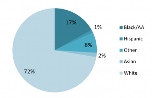 Pie chart showing percentage of individuals with autism in Allegheny county by ethnicity.
