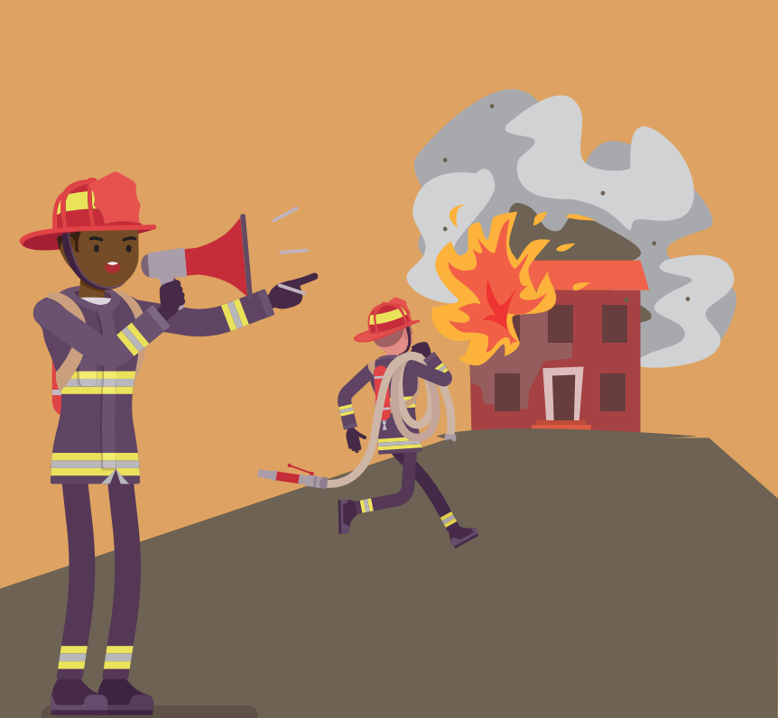 A firefighter stands outside a burning house speaking into a megaphone as another firefighter carries a hose into the house.