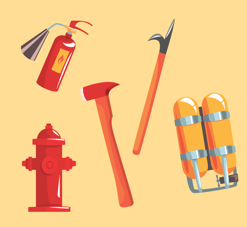 A fire extinguisher, fire hydrant, oxygen tank, and two metal tools are shown.