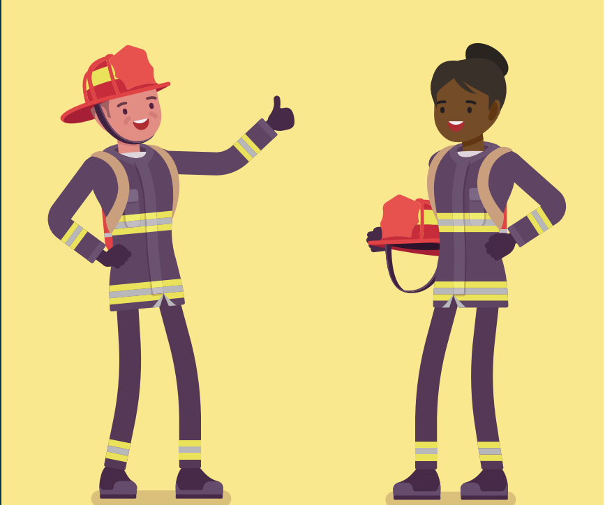 A smiling firefighter on the left holds out a thumbs up to smiling firefighter on the right.
