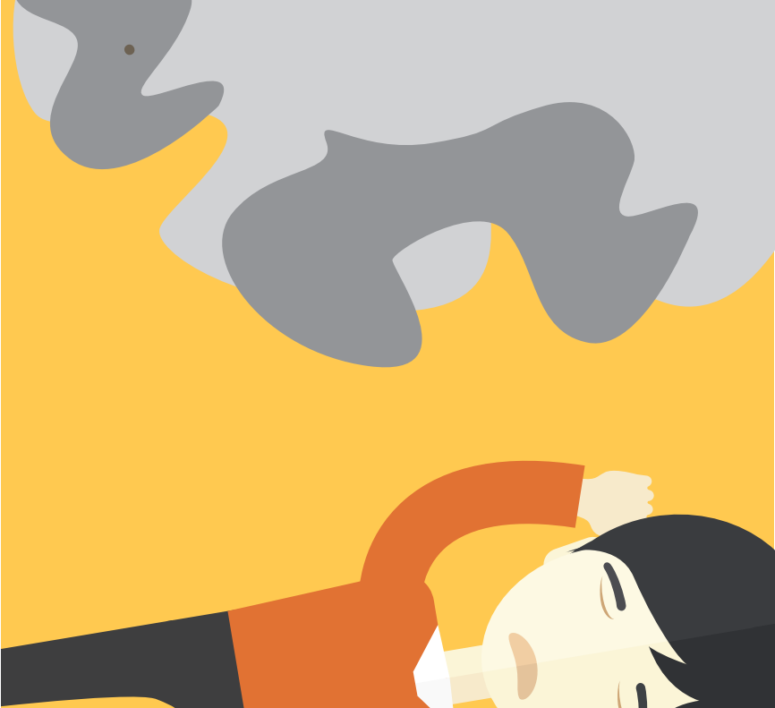 A boy is pictured laying underneath a cloud of smoke.