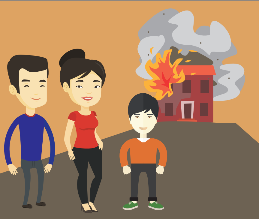 A father, mother, and boy stand together in the front left with a burning house in the background.