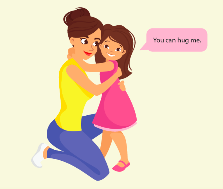 A girl with her arms around a woman says,