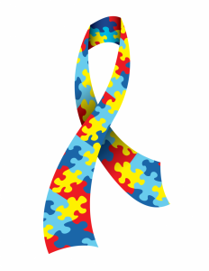 Multicolored autism awareness ribbon.