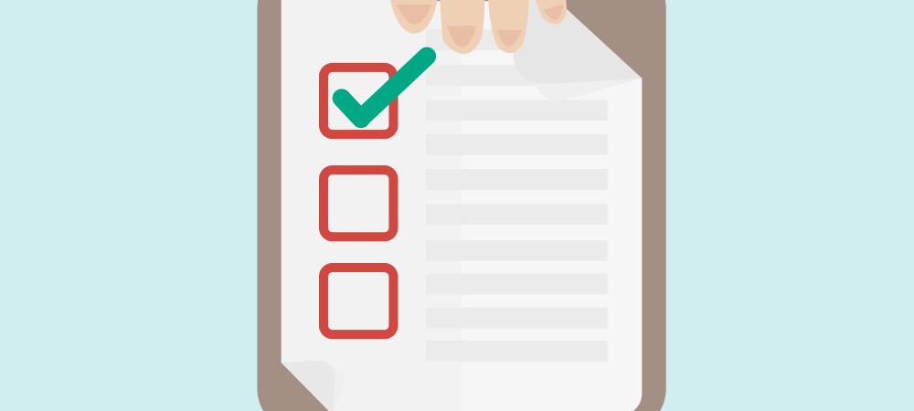 Cartoon rendering of a checklist.