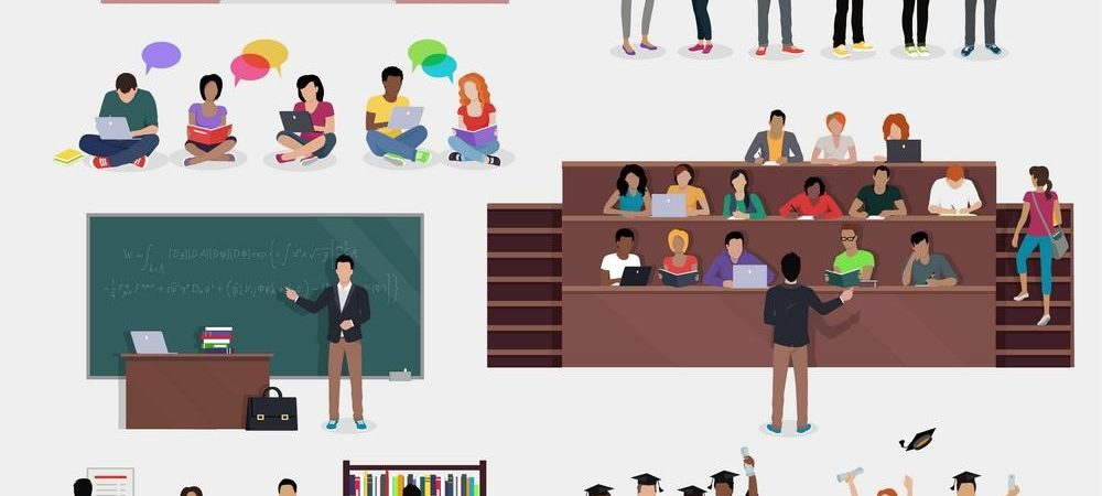 A graphic that depicts different aspects of college including a lecture hall, graduation, and doing work in the library.
