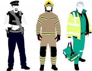 A graphic depicting emergency responders such as a police officer, firefighter, and a medic.