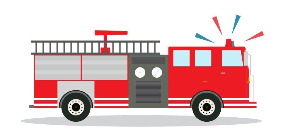 A graphic of a firetruck with it's sirens on.