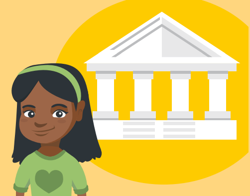 A young girl is standing smiling, with a court house.