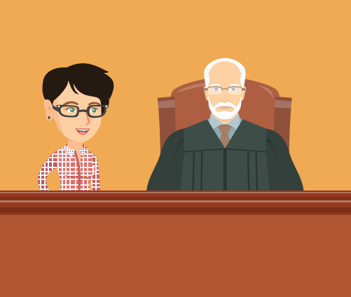 A woman with glasses is with a judge