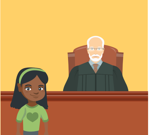A young girl stands in front of a judge