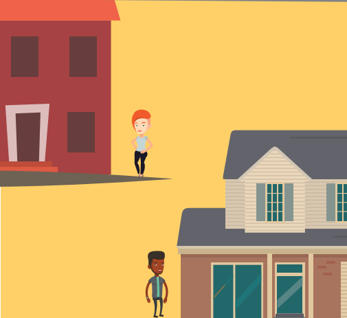 There is two homes depicted. The red house has a woman in front and the other house has a man in front.