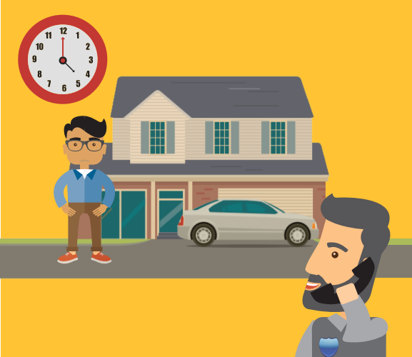 The man is on the phone. The boy is standing in front of a house. There is a clock on the image