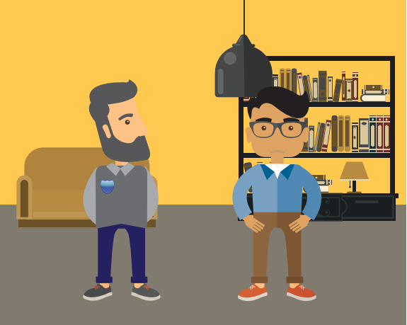 A boy and a man are standing in a room. There is a book shelf in the room.