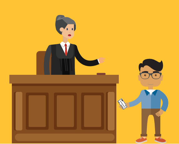 A boy is handing a small piece of paper while talking to the judge.