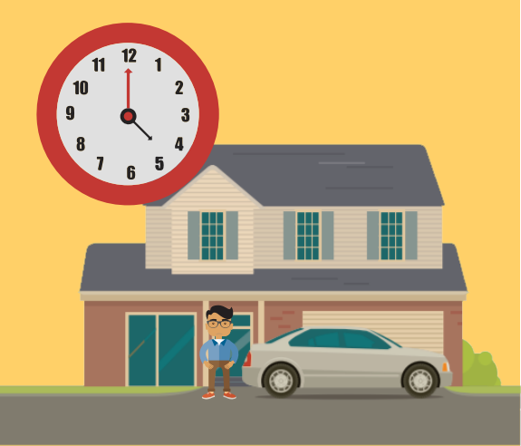 A boy is in front of a house. There is a clock in the image