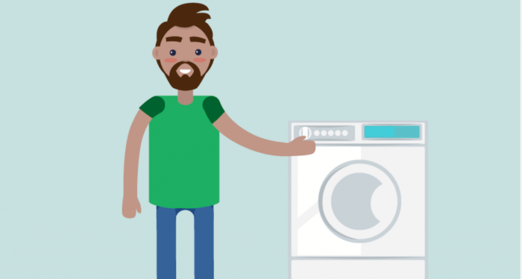 A man is shown with his hand on the dryer door.