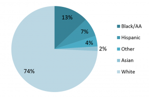 Pie chart showing percentage of individuals with autism in Pennsylvania by ethnicity.