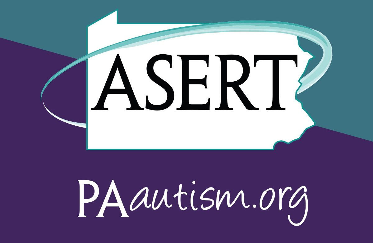 The PA ASERT Logo containing that text in a border shaped like the state of Pennsylvania with a purple and teal background
