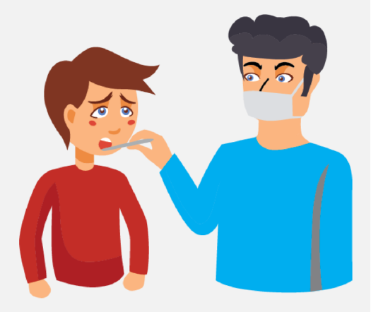 A man wearing a mask holds a thermometer in a boy's mouth.