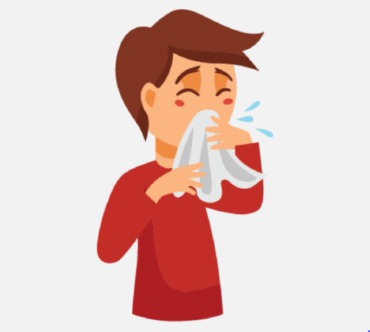 A boy coughing into a tissue.