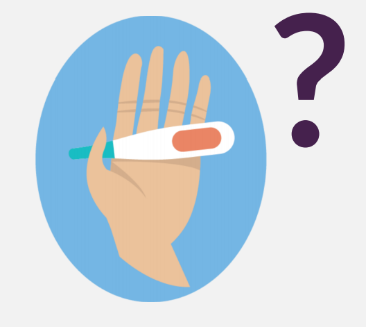 A hand holding a thermometer next to a purple question mark.