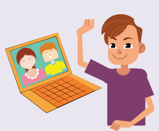 A smiling boy waves at two people shown on a computer screen.