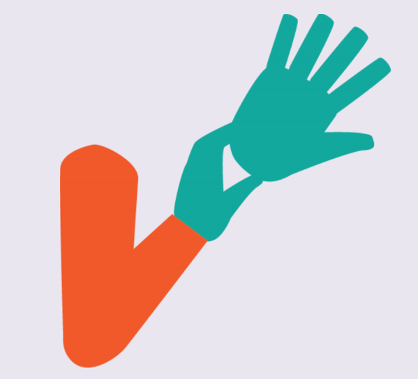 A gloved hand holding a glove at the wrist area.