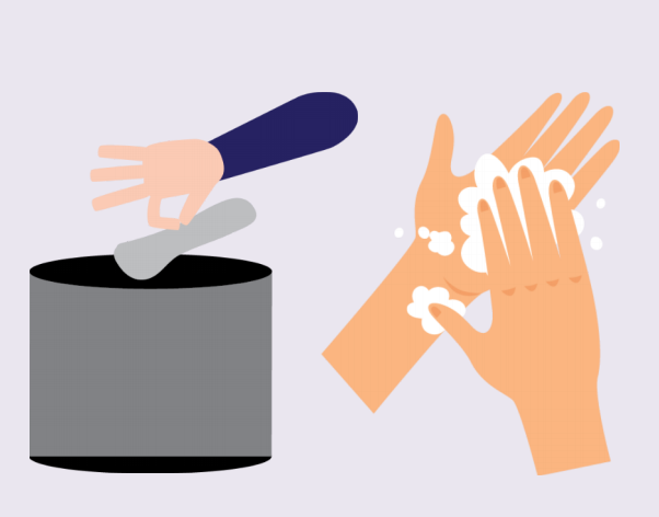 An ungloved hand tossing removed gloves into a trash can is shown to the left of two hands with soap.