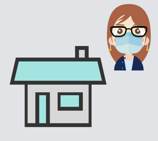 A woman wearing a mask is shown next to a house.
